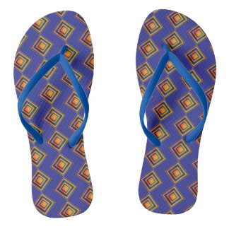 Geometric Blue Pattern and Golden Flip Flops