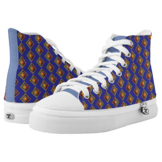 Geometric Blue Pattern and Golden Sneakers
