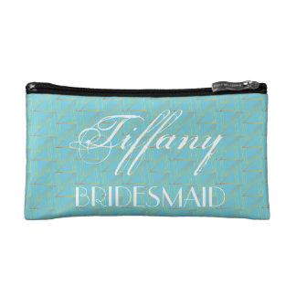 Geometric Blue Pattern  Bridesmaid Cosmetic Bag