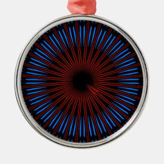 Geometric blue/red Premium Round Ornament