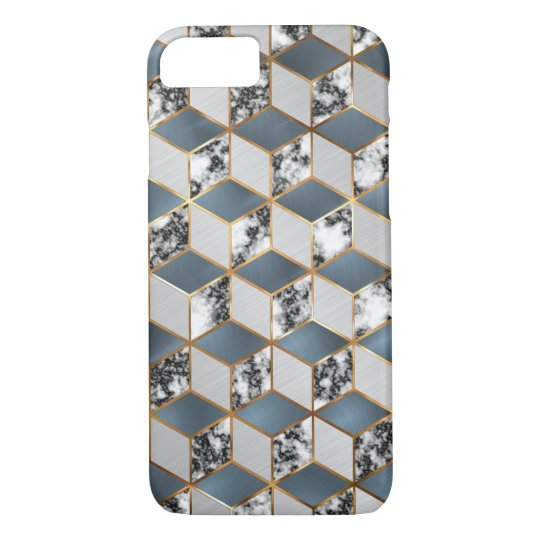 Geometric Blue, Steel and Marble Gold Cubes Mobile