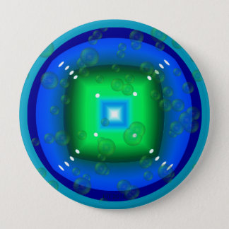 Geometric Bluish-Green Shape with Bubbles Button