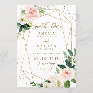 Geometric Blush Gold Floral Save The Date Invite