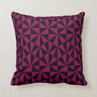 Geometric Bold Retro Funky Black Magenta Cushion