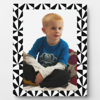 Geometric Bold Retro Funky Black White Plaque