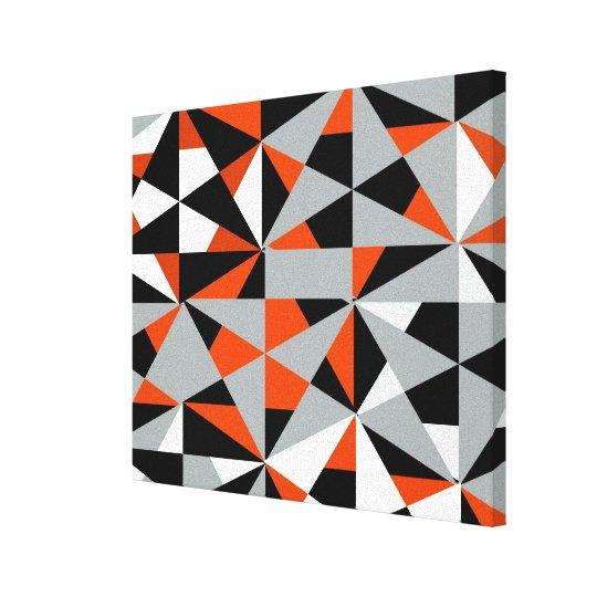 Geometric Bold Retro Funky Orange Black White Canvas