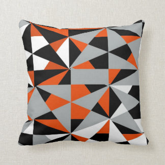 Geometric Bold Retro Funky Orange Black White Cushion