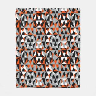 Geometric Bold Retro Funky Orange Grey Black White Fleece Blanket