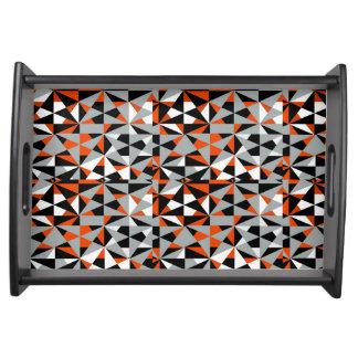 Geometric Bold Retro Funky Orange Grey Black White Serving Tray