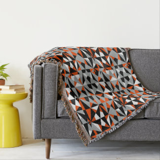 Geometric Bold Retro Funky Orange Grey Black White Throw Blanket