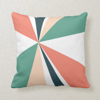 Geometric Burst Triangle Art Coral Teal Navy Cushion