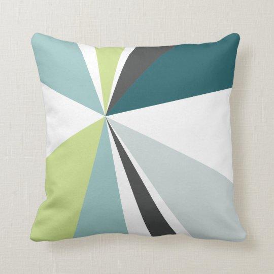 Geometric Burst Triangle Art Green Teal Grey Throw