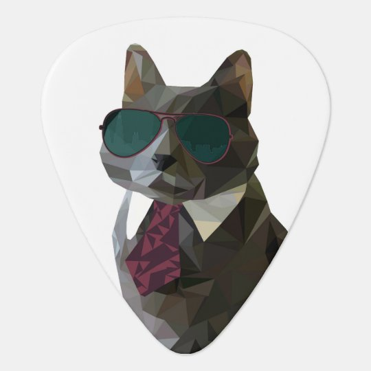 Geometric Cat in sunglasses Guitar Pick