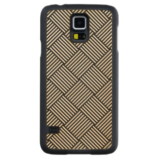 Geometric checked texture carved maple galaxy s5 case