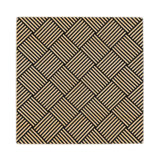 Geometric checked texture maple wood coaster