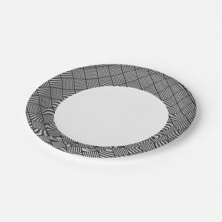 Geometric checked texture paper plate
