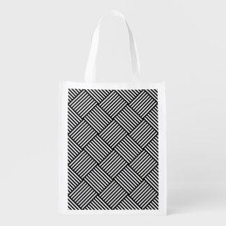 Geometric checked texture reusable grocery bag