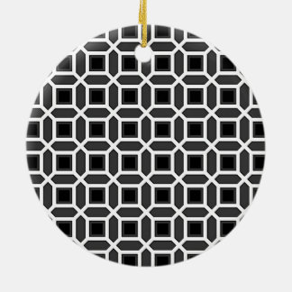 Geometric Circle Pattern Black and Grey Ornament