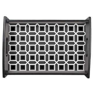 Geometric Circle Pattern Black and Grey Serving Tray