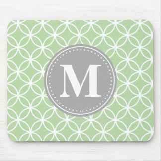 Geometric Circles Mint Green Grey Monogram Mouse Mat