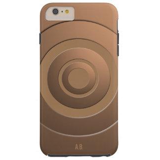Geometric Circles Modern Bronze with Initials Tough iPhone 6 Plus Case