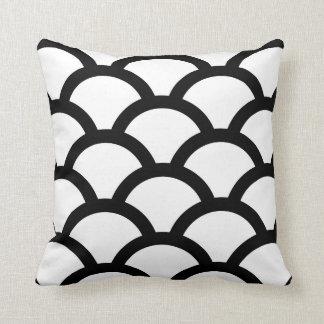 Geometric Circles Pillow in Black and White Throw Cushion