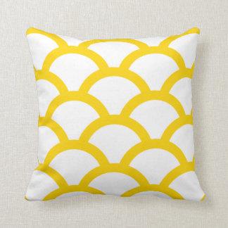 Geometric Circles Pillow in Freesia Yellow Throw Cushions