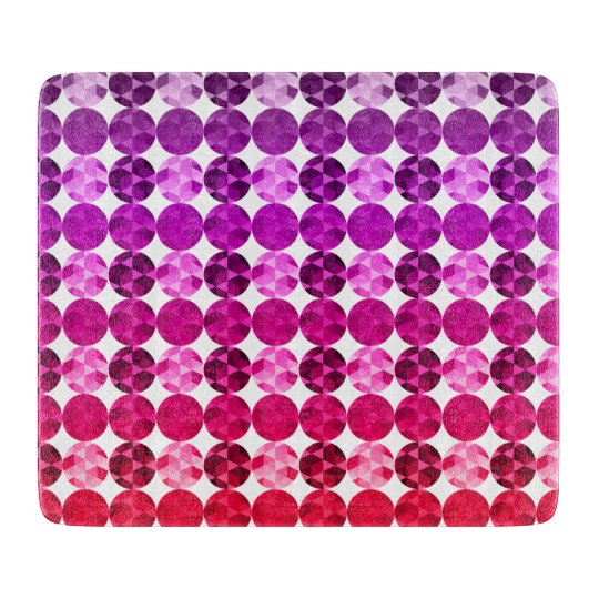 Geometric Circles Purple Pink Red Ombre Pattern Cutting Board