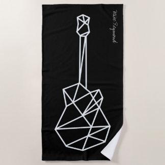 geometric cool music guitar on black beach towel