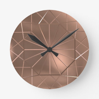 Geometric Copper Wire Octagon Round Wall Clock