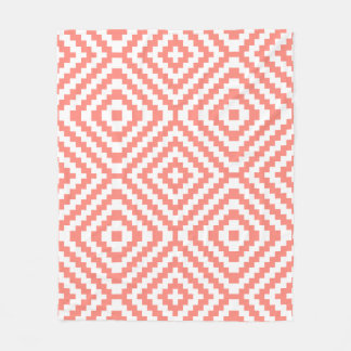 Geometric Coral Fleece Blanket