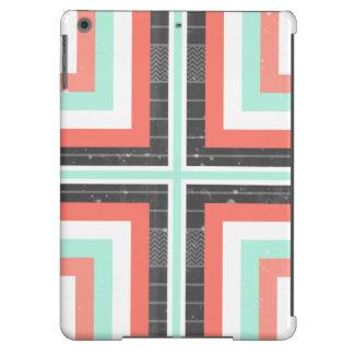 Geometric Coral & Mint Green Distressed Pattern iPad Air Case