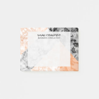 Geometric Coral  Pink Marble Abstract Collage Post-it Notes