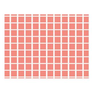 Geometric Coral Pink Square Pattern Postcard