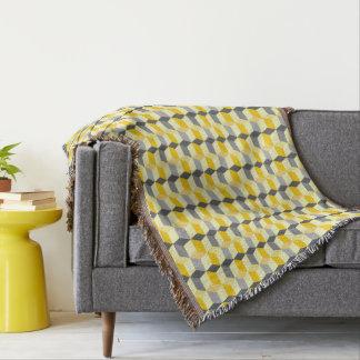 Geometric Cubes Yellow and Gray Modern Abstract Throw Blanket