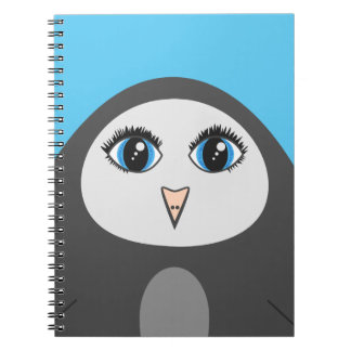 Geometric Cute Cartoon Big Eyed Penguin Kids Spiral Notebook