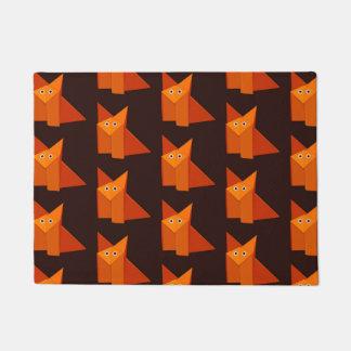 Geometric Cute Origami Fox Pattern Doormat