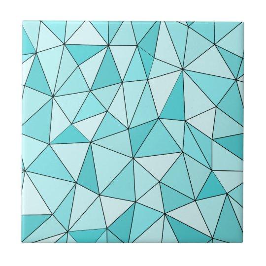 Geometric Cyan Triangles Modern Ceramic Tile