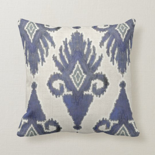 Geometric Damask IKAT Tribal Bohemian Pattern Navy Throw