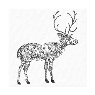 Geometric deer colouring canvas, deer holiday canvas print