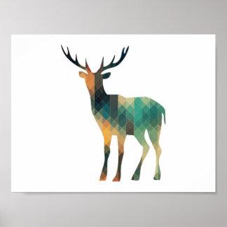 Geometric Deer Silhouette Poster