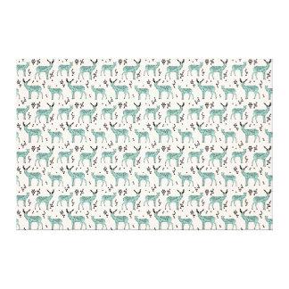 Geometric Deer - Turquoise/Black / Andrea Lauren Canvas Prints