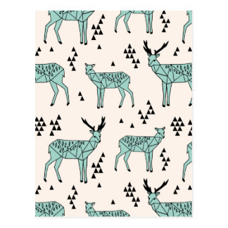 Geometric Deer - Turquoise/Black / Andrea Lauren Postcard