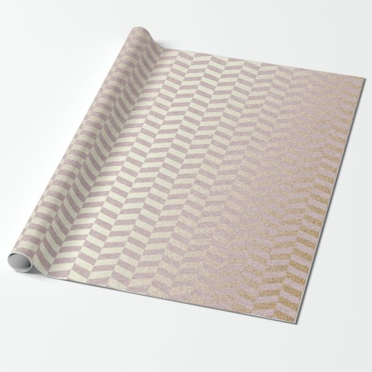 Geometric Delicate Pastel Pink Golden Zig Zag Wrapping