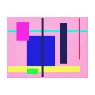 Geometric Design Blue Square Gallery Wrapped Canvas