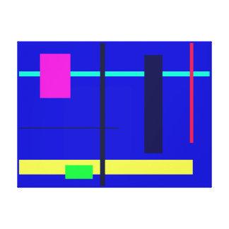 Geometric Design Blue Square Stretched Canvas Print