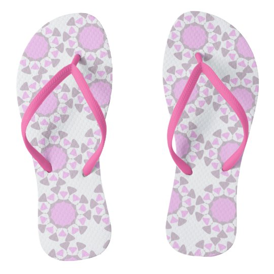 Geometric design flip flops - grey and pink