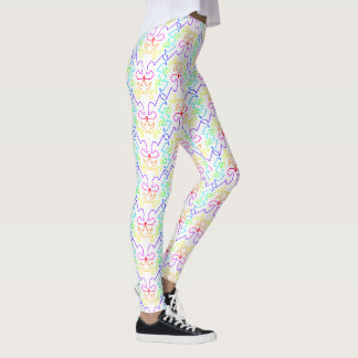 Geometric Design in Repeating Rainbow Pattern Leggings