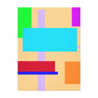 Geometric Design Rectangles Navajo White Stretched Canvas Print