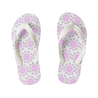 Geometric design toddler flip flops- grey and pink kid's flip flops
